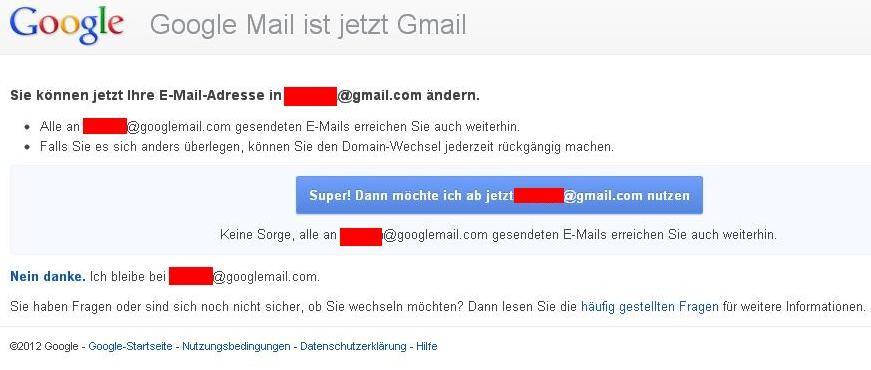 Hinweis zum Wechsel zu Gmail.
